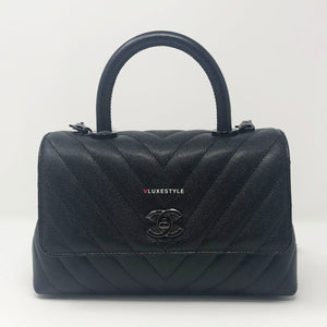 Chanel 18A Mini Coco Handle So Black Chevron Caviar