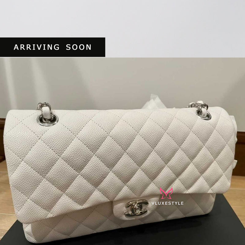 Classic Medium Double Flap White Quilted Caviar with silver hardware