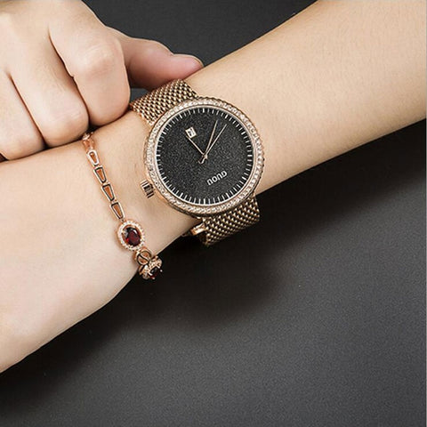 Fashion Casual Auto Date Ladies Quartz Watch Stainless Steel