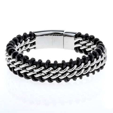Men's Black Leather Stainless Steel Hip-hop Bracelet