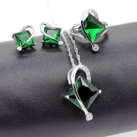 Fashion Crystal  Jewelry Sets with Green Blue Stones - Best Selling Good Quality Cheap Affordable