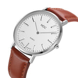 Luxury Silver Watch with Brown Leather Strap - Best Selling Good Quality Cheap Affordable