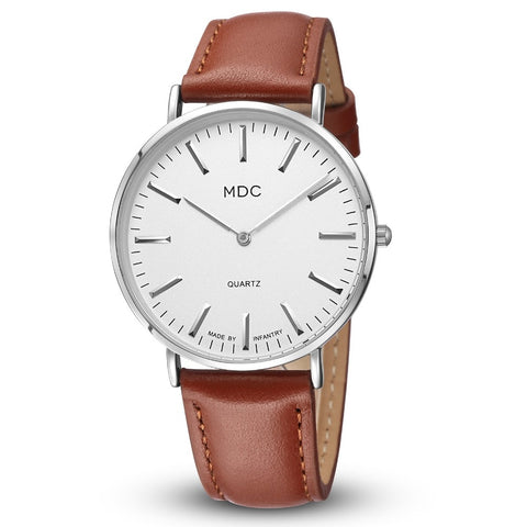 Luxury Silver Watch with Brown Leather Strap