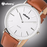 Minimalist Leather Silver Watches for Men