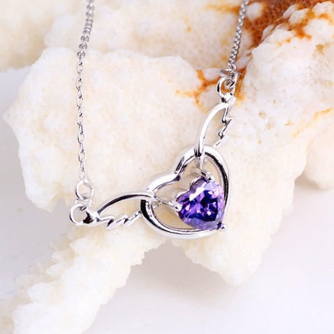 Lovely Purple Crystal Heart Necklace - Best Selling Good Quality Cheap Affordable