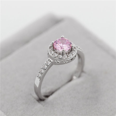 Brilliant Pink Crystal Silver Ring