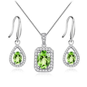 Gemstone Green Hook Earrings with Pure Silver Pendant Necklace - Best Selling Good Quality Cheap Affordable
