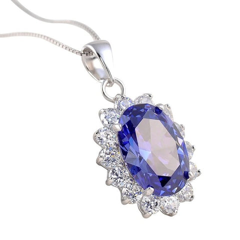 Oval Shape Blue Pendant Pure Sterling Silver Necklace - Best Selling Good Quality Cheap Affordable