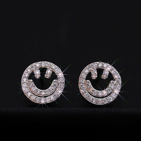 Smile Face Silver Stud Earrings - Best Selling Good Quality Cheap Affordable