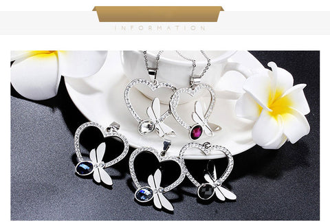 Crystal Butterfly Pendant Necklace Earrings, Silver Jewelry Sets - Best Selling Good Quality Cheap Affordable
