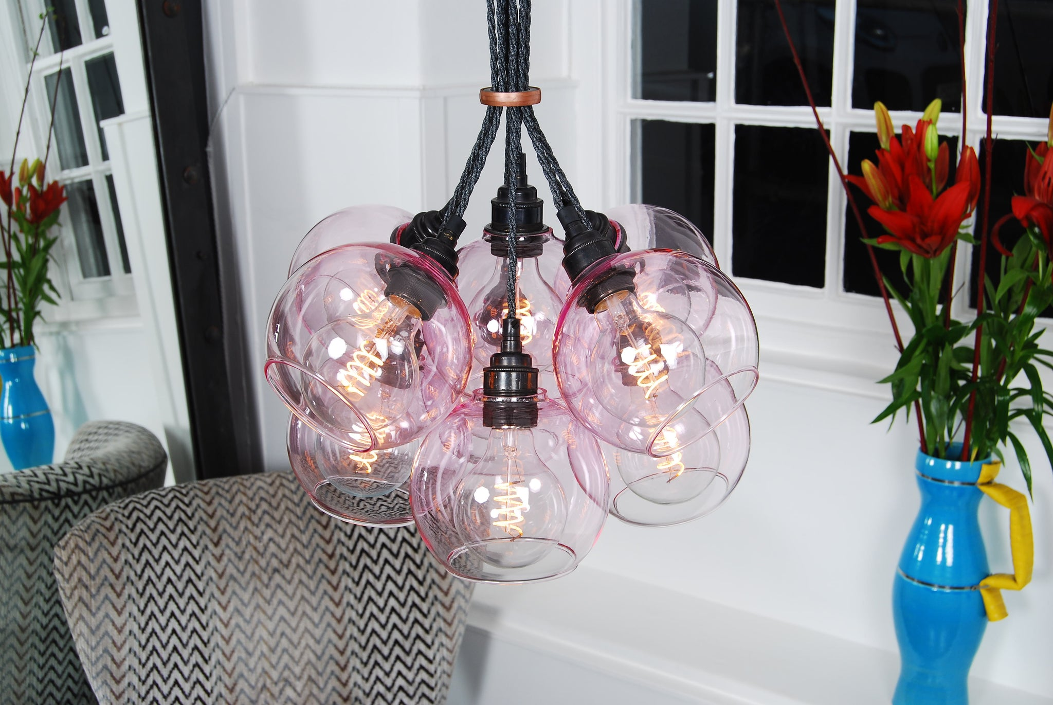 NEO Pink Glass Chandelier