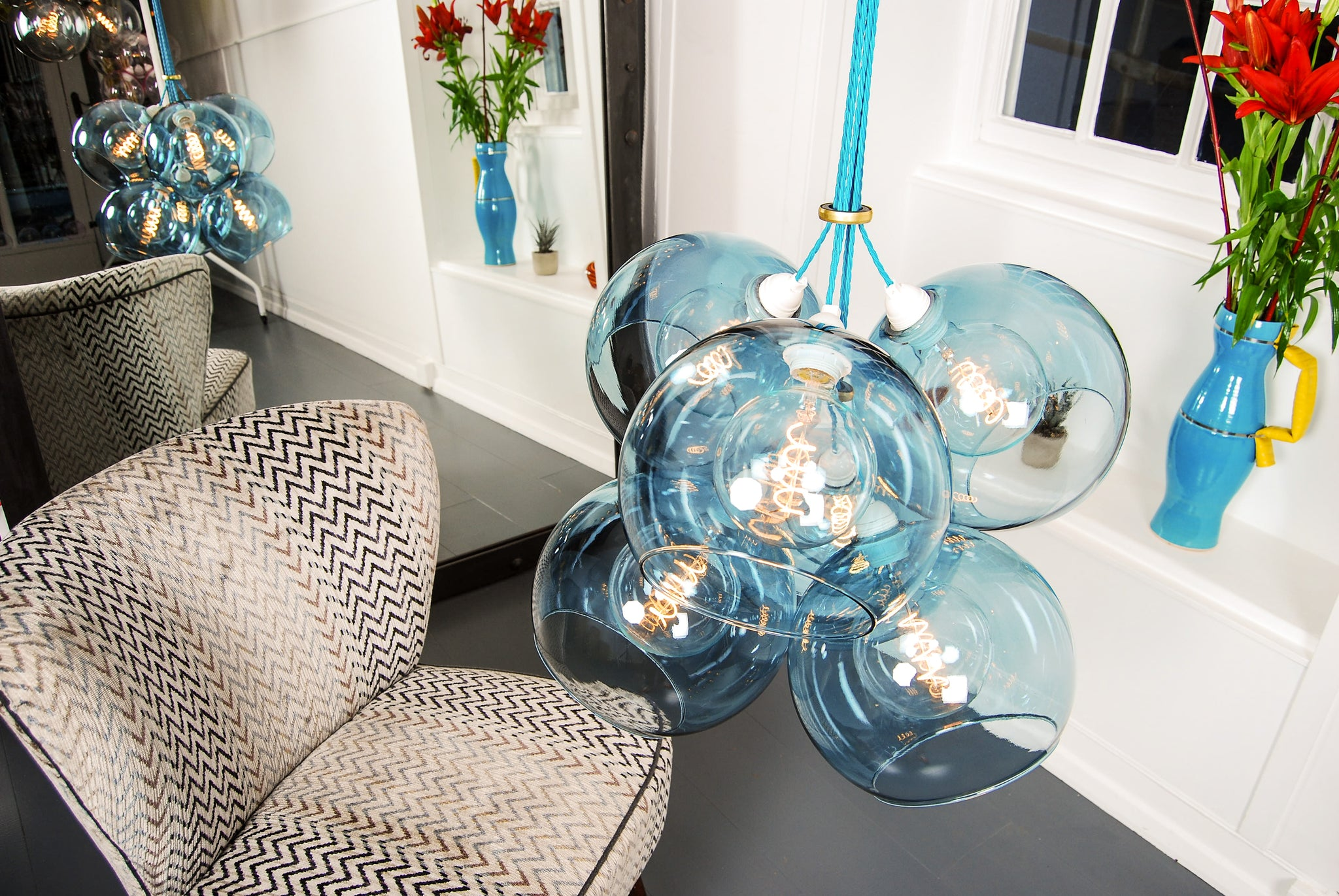 TITAN Petrol Glass Chandelier
