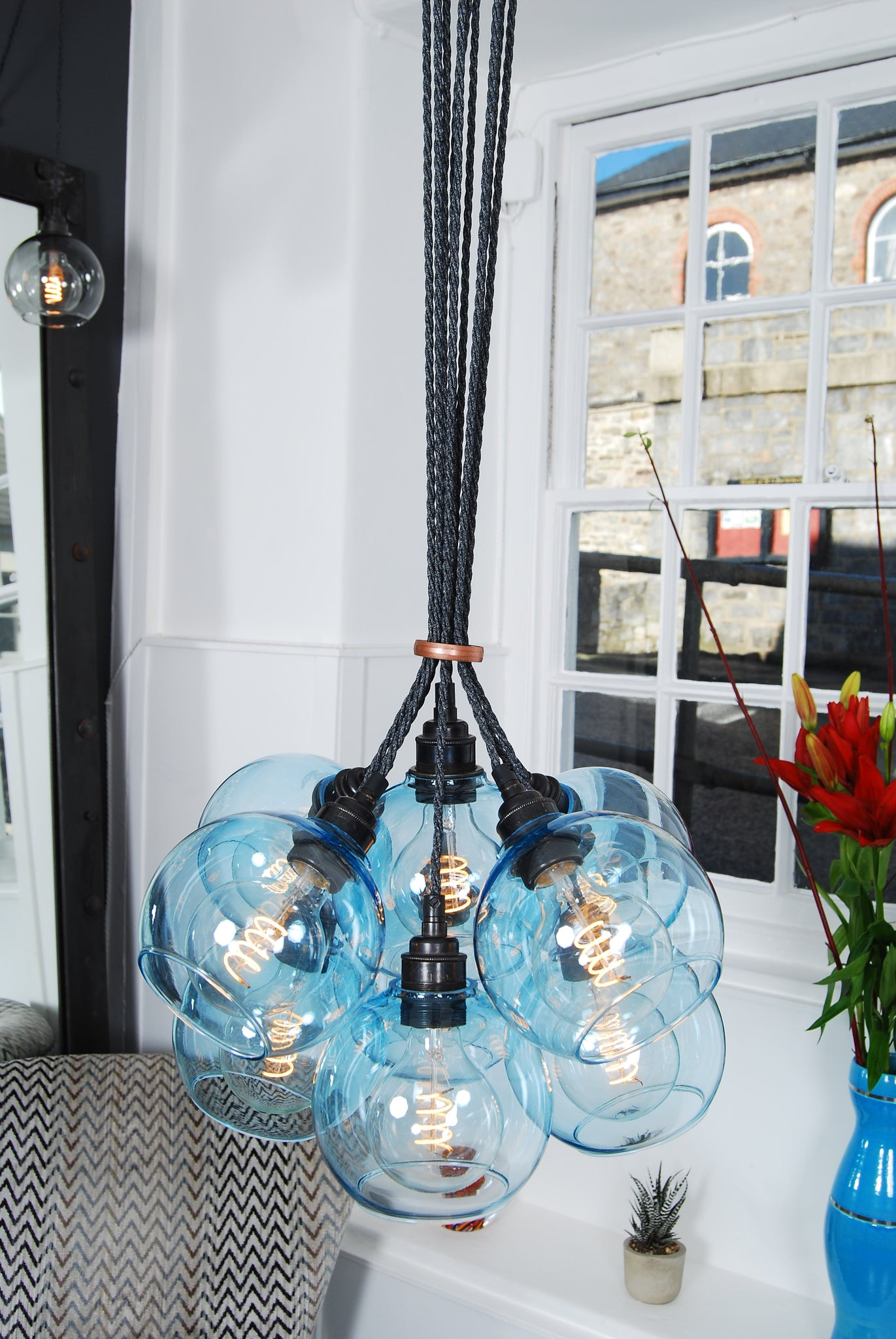 NEO Soft Blue Glass Chandelier