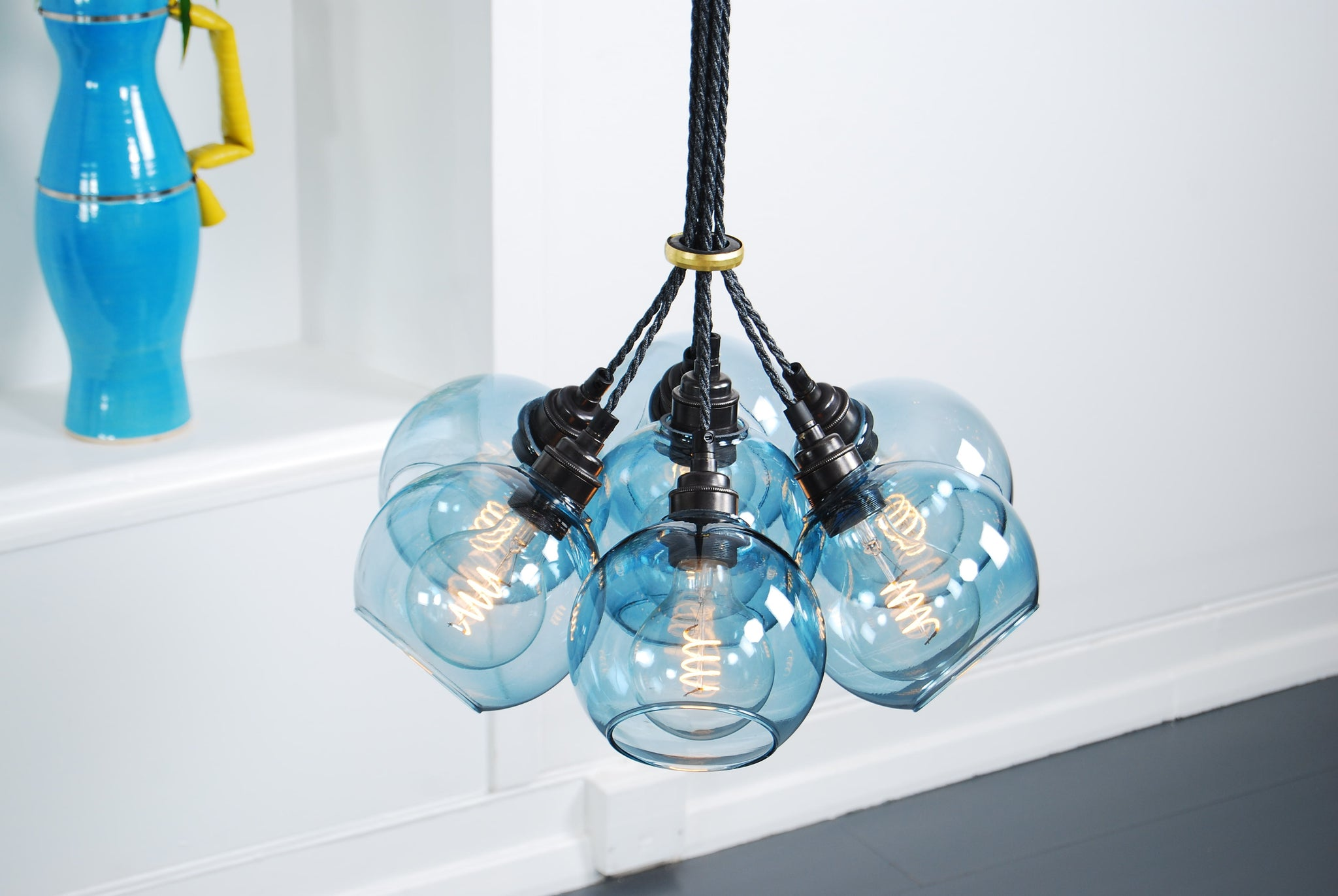SPOT Petrol Blue Glass Chandelier