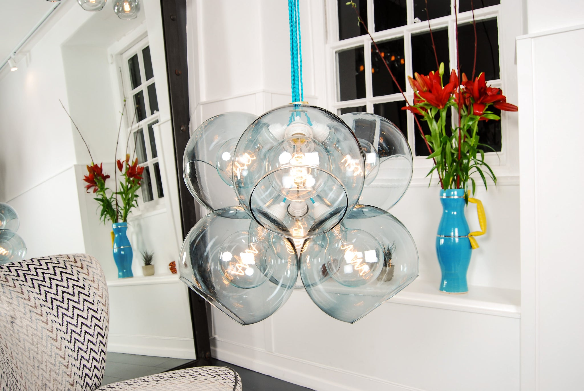 TITAN Grey Glass Chandelier