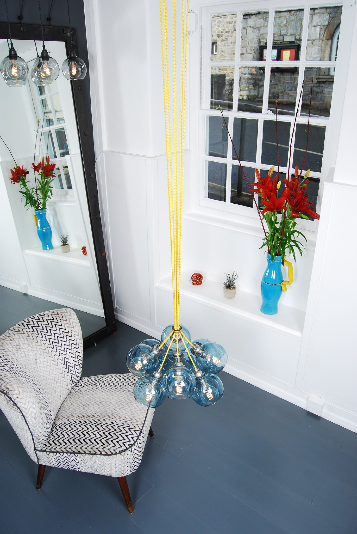MEGA Petrol Blue Glass Chandelier