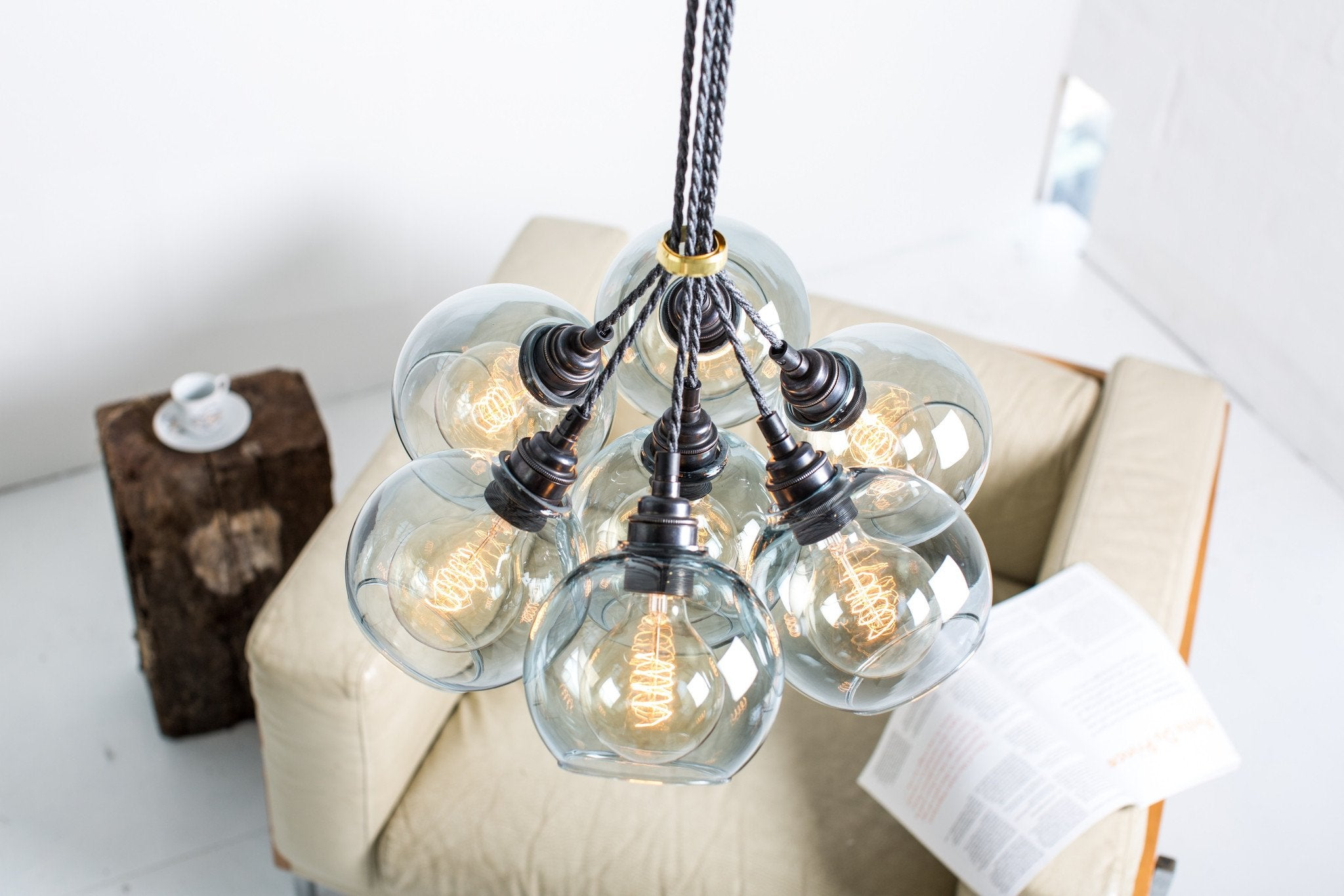 Atom Spot Grey Glass Chandelier - Mushroom Designs