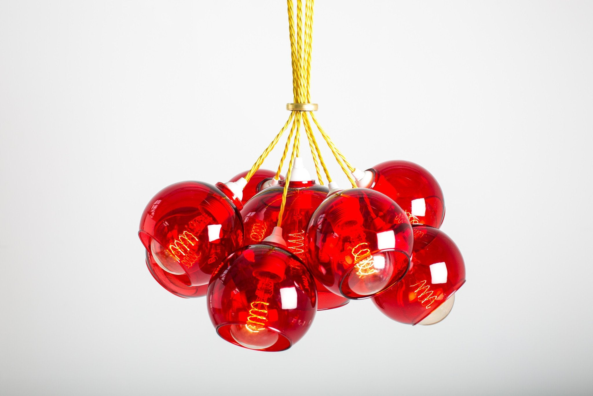 Mega red glass chandelier pop lights mega atom chandelier red glass with yellow flex mushroom designs mozeypictures Image collections