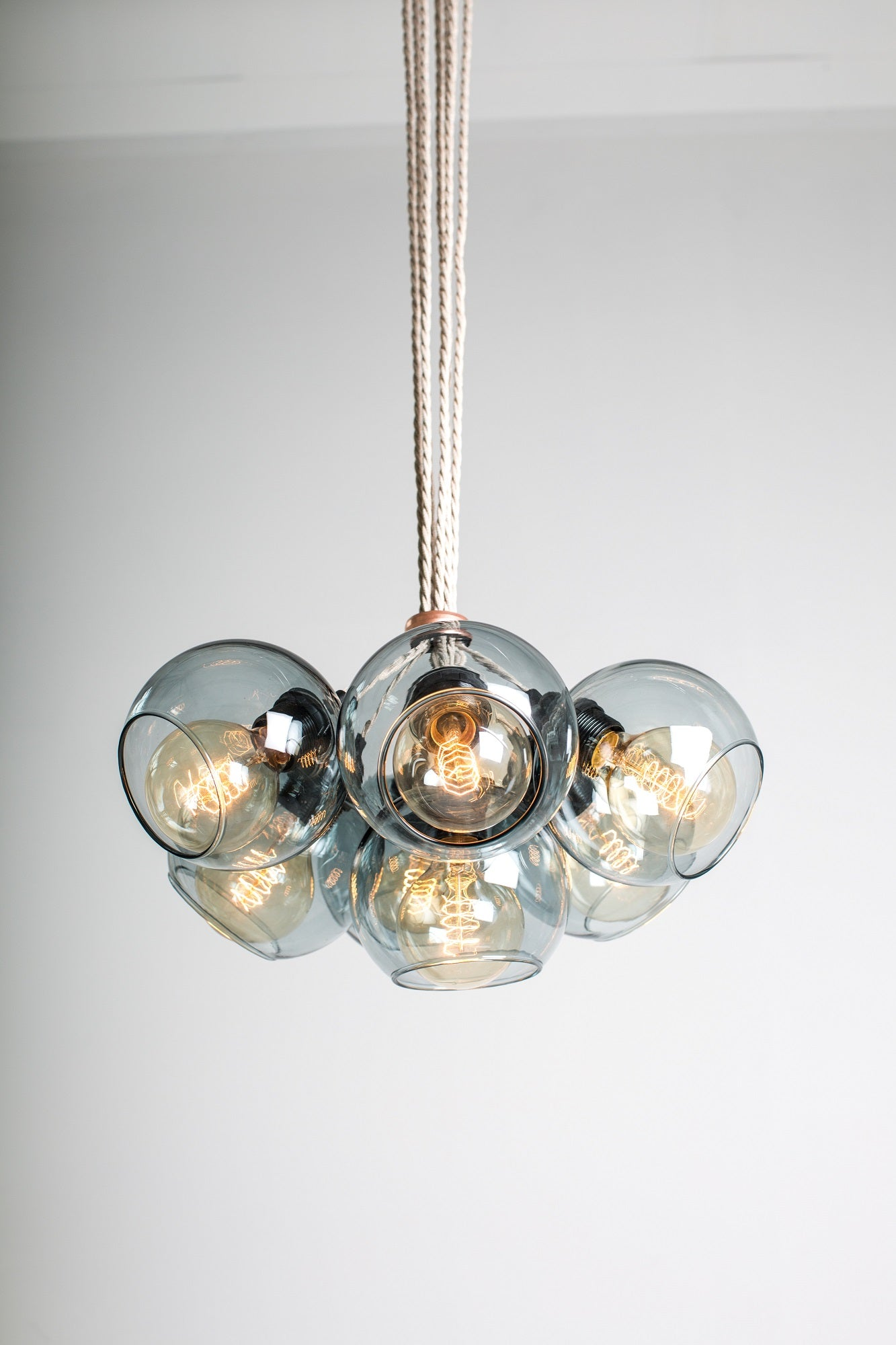 SPOT Grey Glass Chandelier