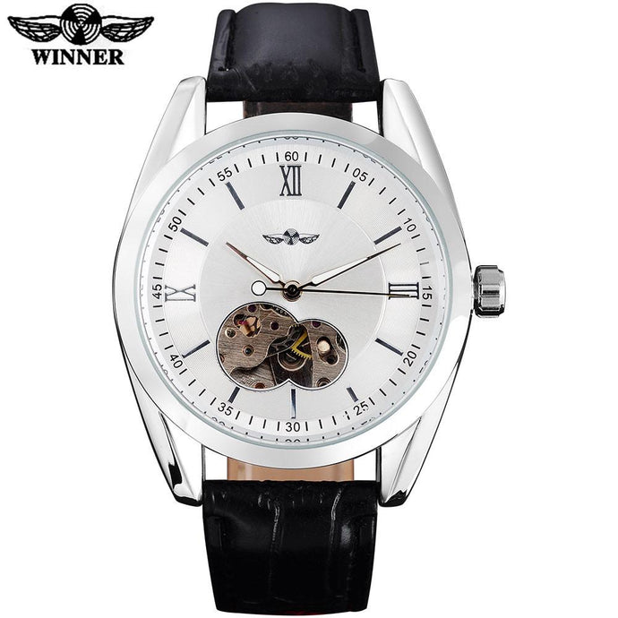 Automatic Skeleton Mechanical Watch White Dial Silver Case Black Leather Ban by WINNER
