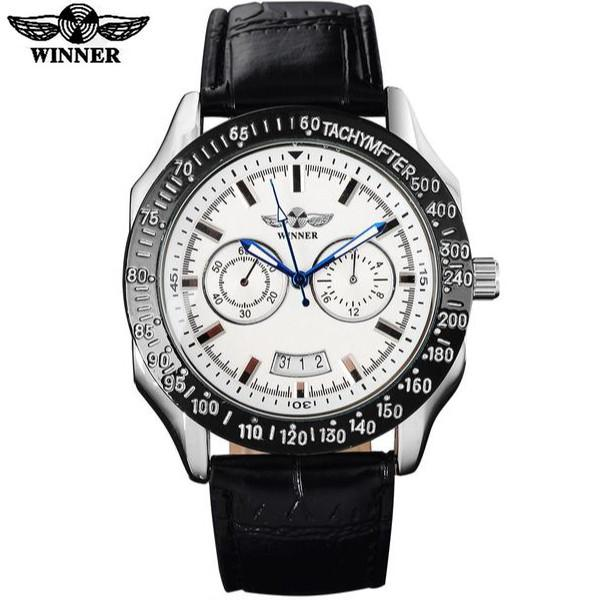 Automatic Mechanical Sports Watch White Dial Black Leather Strap by WINNER