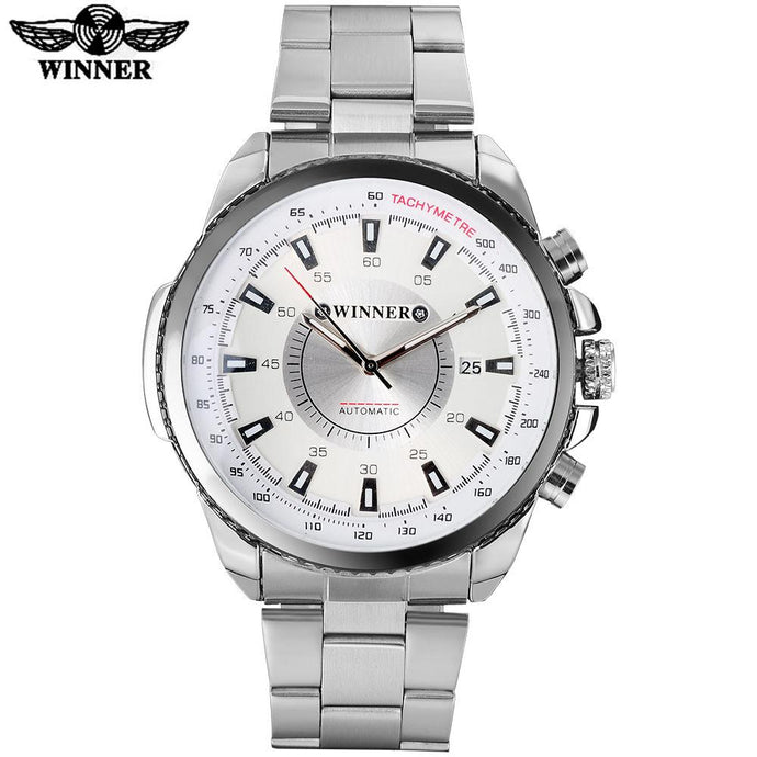 Automatic Mechanical Auto Date Watch White Dial Stainless Steel Band by WINNER
