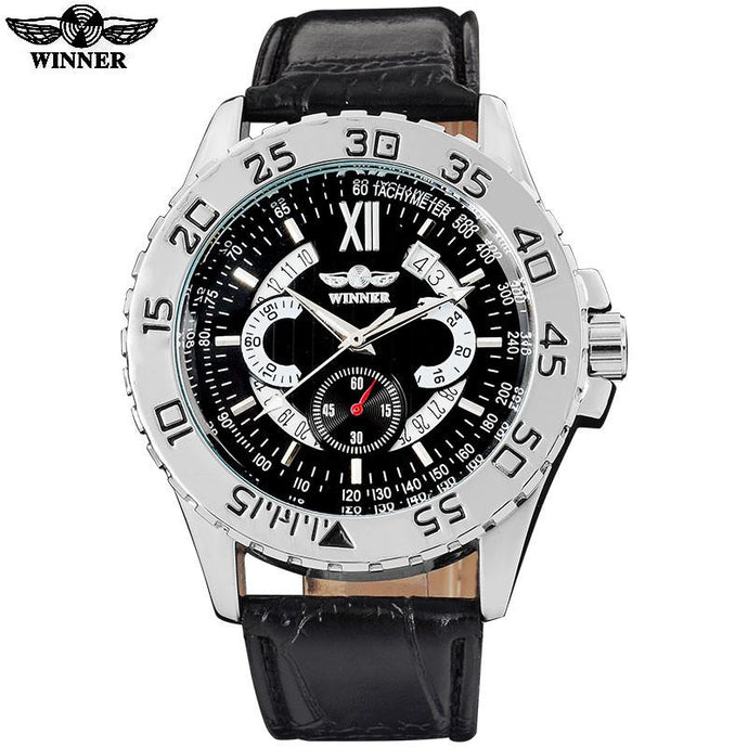 Mechanical Automatic Sports Watch Black Dial Silver Case Black Leather Band by WINNER