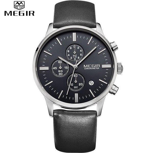 Quartz Chronograph Black Dial Silver Case Black Leather Band by MEGIR