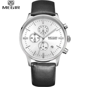Quartz Chronograph White Dial Silver Case Black Leather Band by MEGIR