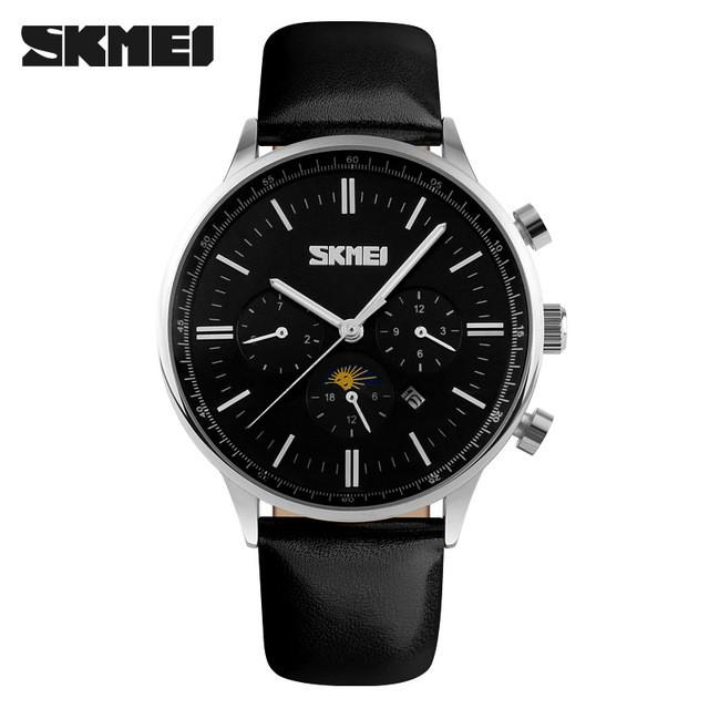 Quartz Moon Phase Watch Black Dial Silver Case Black Leather Band by SKMEI