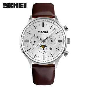 Quartz Moon Phase Watch White Dial Silver Case Brown Leather Band by SKMEI