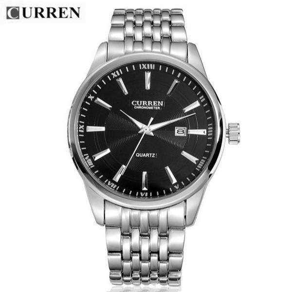 Quartz Watch Black Dial Stainless Steel Band by CURREN