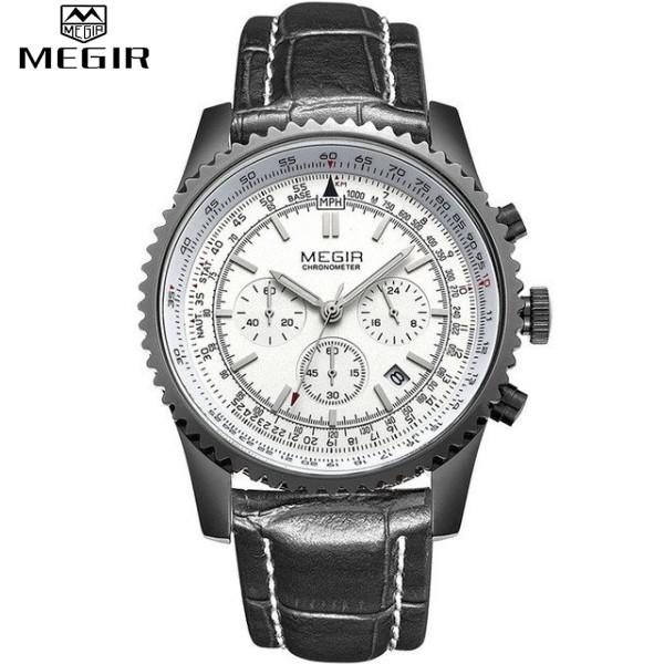 Quartz Watch Analog Luminous Stop Watch Calendar White Dial Silver Case Black Leather Band by MEGIR