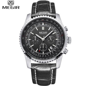 Quartz Watch Analog Luminous Stop Watch Calendar Black Dial Silver Case Black Leather Band by MEGIR
