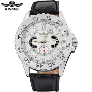 Mechanical Automatic Sports Watch White Dial Silver Case Black Leather Band by WINNE
