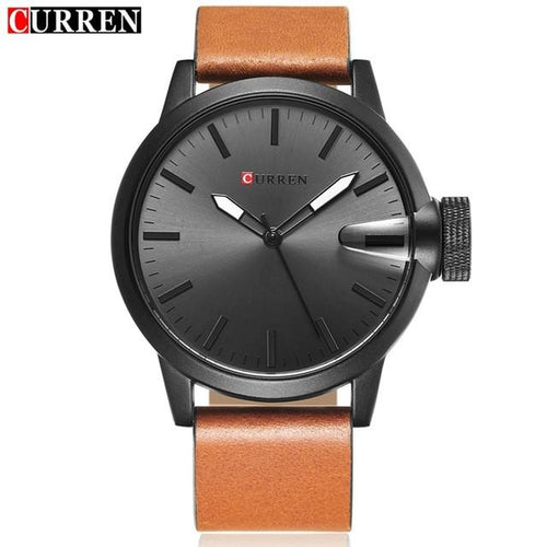 Auto Date Quartz Watch Black Dial Black Case Tan Leather Band by CURREN