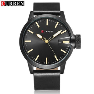 Auto Date Quartz Watch Black Dial Black Case Black Leather Band by CURREN