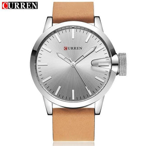 Auto Date Quartz Watch Silver Dial Silver Case Tan Leather Band by CURREN