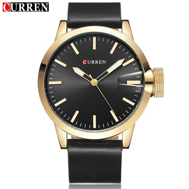Auto Date Quartz Watch Black Dial Gold Case Black Leather Band by CURREN
