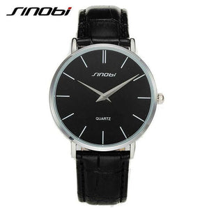 Quartz Ultra Thin Wrist Watch Black Dial Black Leather Band by SINOBI