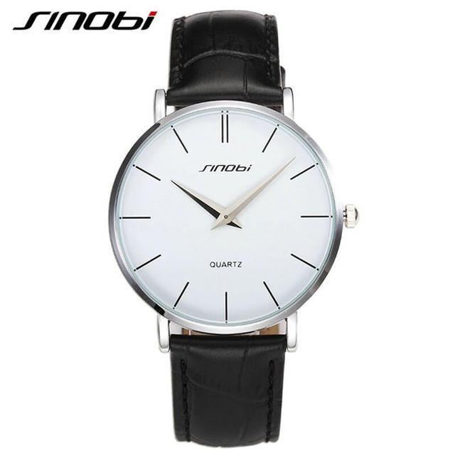 Quartz Ultra Thin Wrist Watch White Dial Black Leather Band by SINOBI