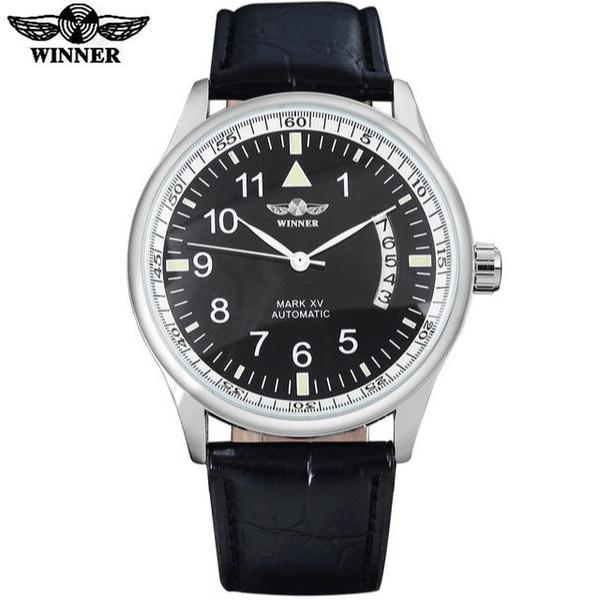 Automatic Self Winding Auto Date Watch Black Dial White Ring Black leather band by WINNER