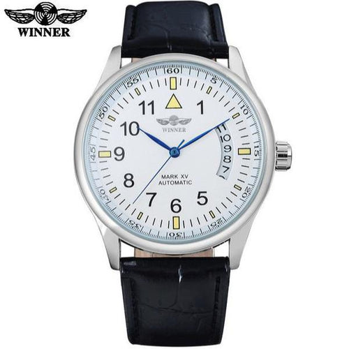 Automatic Self Winding Auto Date Watch White Dial White Ring Black leather band by WINNER