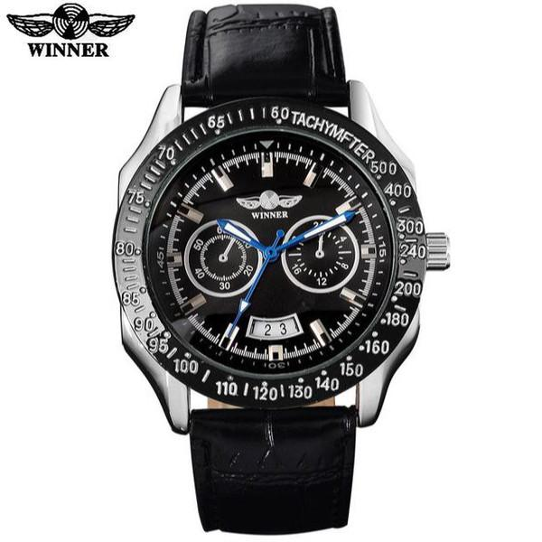 Automatic Mechanical Sports Watch Black Dial Black Leather Strap by WINNER