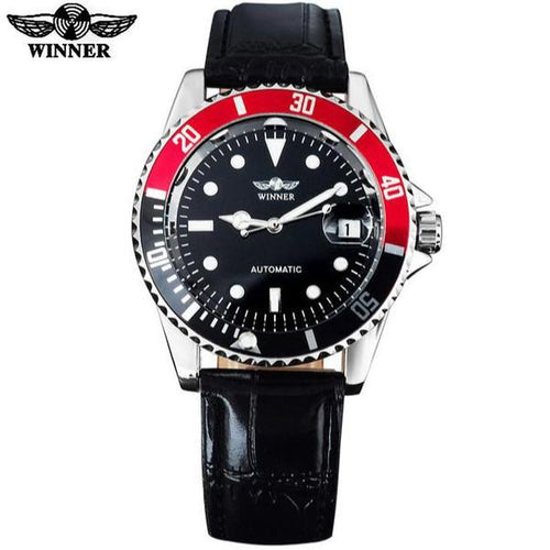Automatic Watch Black Dial Silver Case Auto Date Black Leather Band by  WINNER