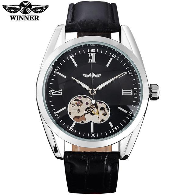 Automatic Skeleton Mechanical Watch Black Dial Silver Case Black Leather Ban by WINNER