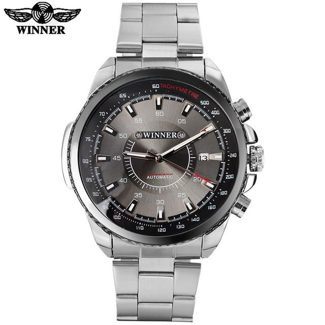 Automatic Mechanical Auto Date Watch Black Dial Stainless Steel Band by WINNER