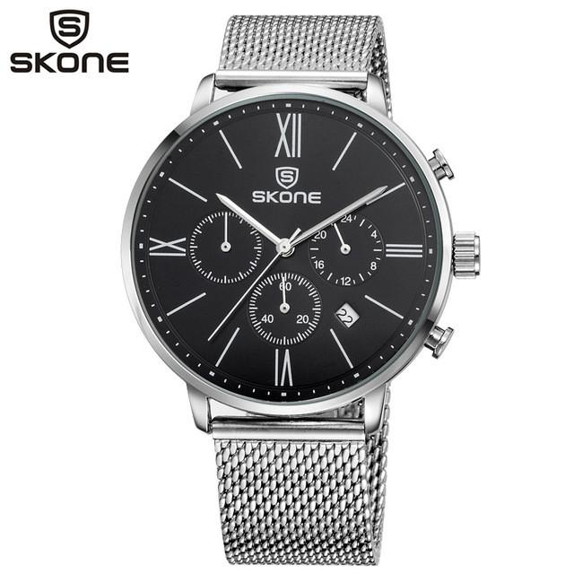 Quartz Chronograph Watch Black Dial Stainless Steel Band by SKONE