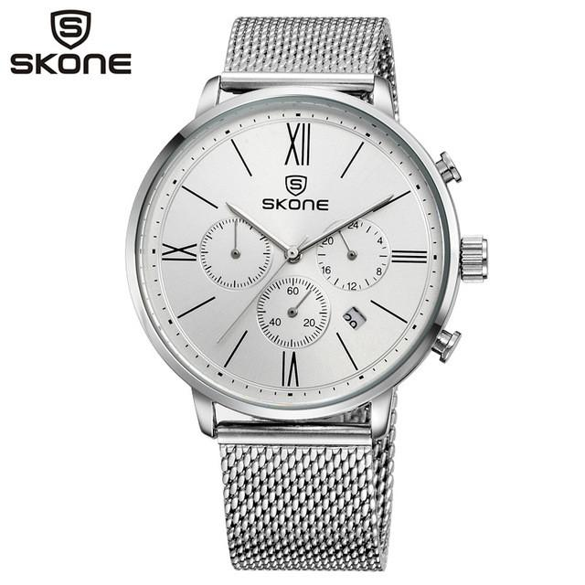 Quartz Chronograph Watch Silver Dial Stainless Steel Band by SKONE