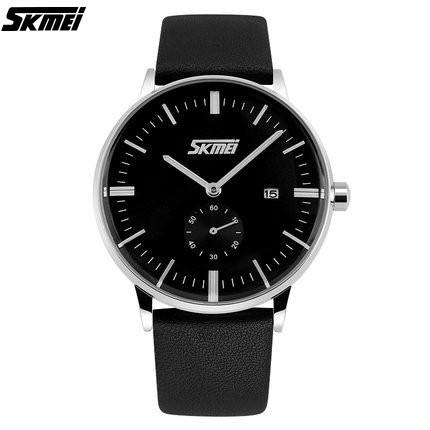 Quartz Watch Black Dial Black Leather Strap by SKMEI